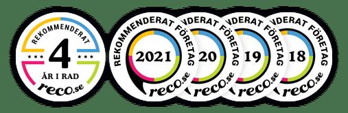 Utmärkelser 4 år i rad hos reco